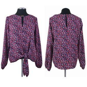 Michael Kors - Floral Tie Front Keyhole Blouse
